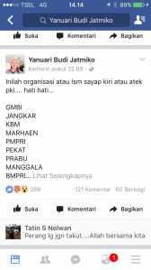 Akun FB Yanuari Budi Jatmiko yang menuding beberapa ormas