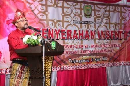 848 Ketua RT/RW di Tanjungpinang Terima Dana Insentif Triwulan I