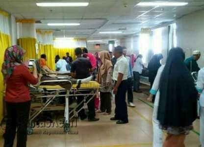 Suasana terakhir diruangan IGD RSUP Kepri pasca Bus Sekolah yang mengangkut siswa Bintan mengalami insiden Lakalantas.