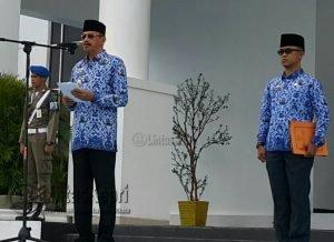 Bupati Natuna, Drs. H. Abdul Hamid Rizal, M.Si, bertindak sebagai Irup 17 hari bulan Januari 2018.