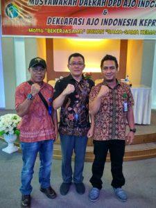 Dari kiri, Ketua AJOI Natuna Roy Parlin Sianipar, Ketua AJOI Kepri Jonni Pakkun dan Sekretaris AJOI Natuna Arizki Fil Bahri.
