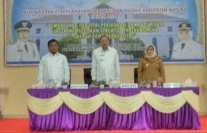 Dari kiri, Wakil Ketua DPRD Hadi Candra, Bupati Abdul Hamid Rizal dan Wabup Ngesti Yuni Suprapti.