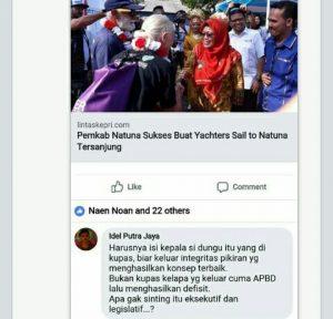 Salah satu postingan Idel Putra Natuna dikolom komentar Medsos yang diduga melanggar UU ITE.