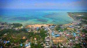 Kota Ranai, Ibu Kota Kabupaten Natuna tampak dari udara.
