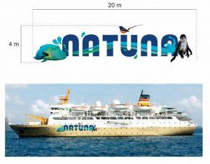 Desain brand wisata Natuna yang akan dipasang di lambung KM Bukit Raya.