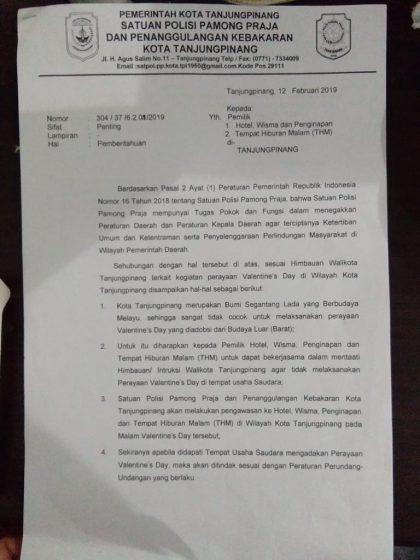 Surat imbauan yang dikeluarkan Pemerintah Kota Tanjungpinang melalui Satpol PP terkait kegiatan perayaan Valentine Day.