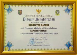 Piagam penghargaan Kategori Inovasi, yang diterima Disdukcapil Natuna.