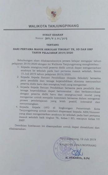 surat edaran (SE) nomor 950/5.3.01/2019 tentang hari pertama masuk sekolah tingkat TK, SD, SMP Tahun Pelajaran 2019/2020.