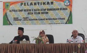 Wabuo Ngesti saat menghadiri acara pelantikan Kepsek SMPN 3 Satu Atap Teluk Buton.