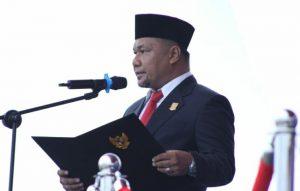 Wakil Ketua I DPRD Natuna Hadi Candra, saat membacakan teks proklamasi.