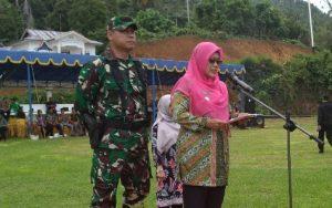 Sambutan Wabup Natuna Ngesti Yuni Suprapti, didampingi Dandim 0318/Natuna Letkol (Czi) Ferry Kriswardana, S.Sos., M.Tr. (Han).