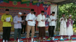 Tampak Dandim Natuna (tiga dari kanan) saat menghadiri Tabligh Akbar dan Istighotsah di Ponpes Madinatunnajah Binjai.