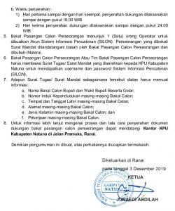 Surat Pengumuman KPU Natuna tentang Persyaratan bagi Calon Pasangan Perseorangan Bupati dan Wakil Bupati Natuna 2020.