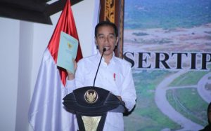 Presiden RI Joko Widodo saat menyampaikan kata sambutan.