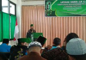 Sambutan Sekretaris Umum HMI Cabang Natuna, Ferry Irawan.